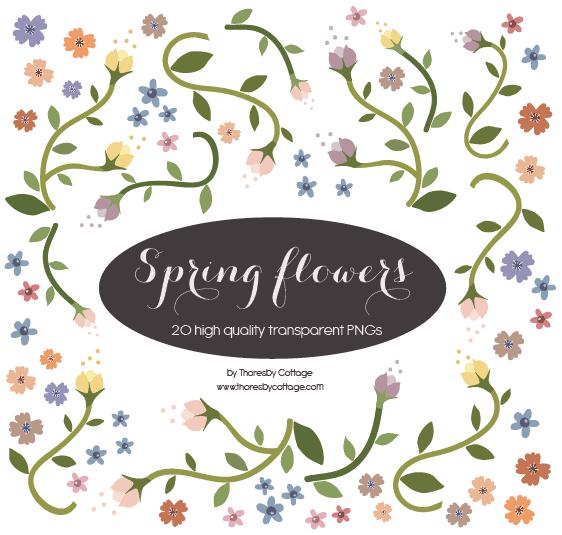Spring flower digital elements