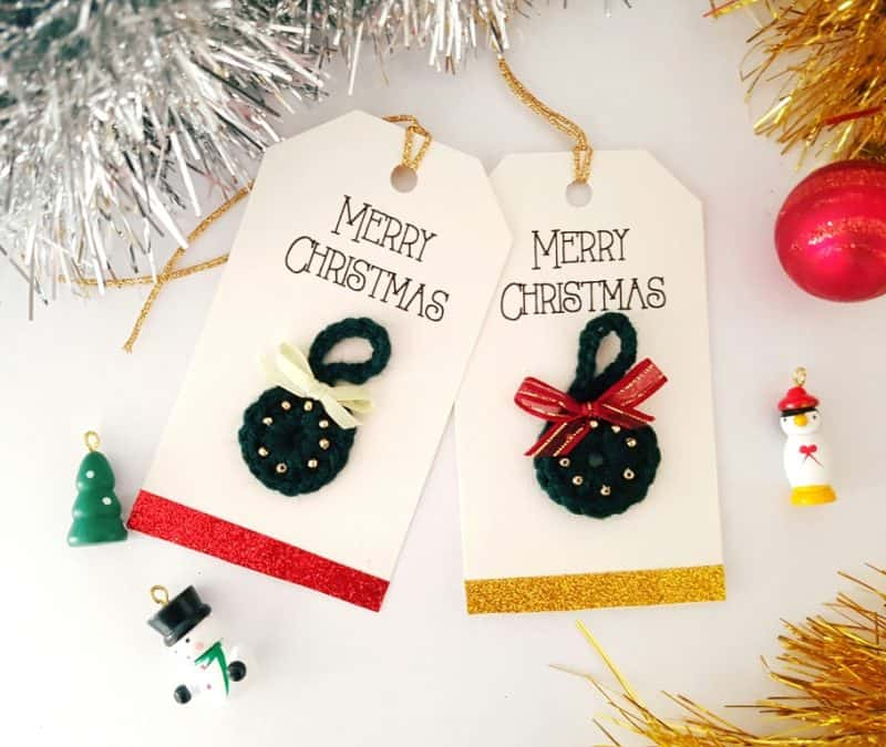 free crochet Christmas tag