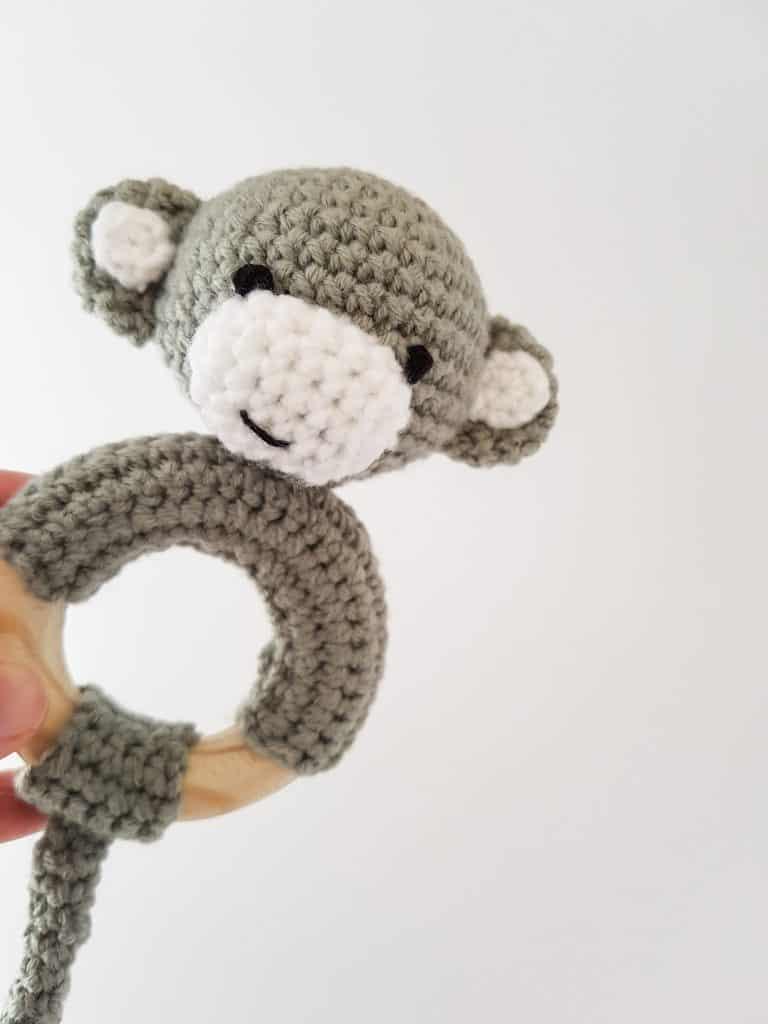 Crochet monkey rattle / teether