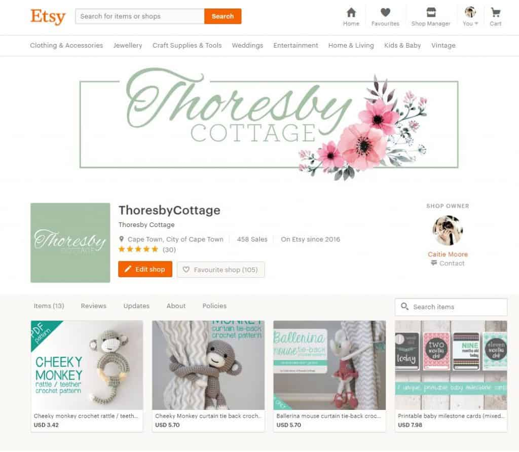 Thoresby Cottage store front