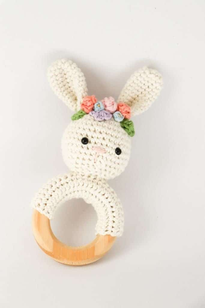 Spring bunny with flower crown. Crochet rattle pattern