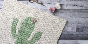 Crochet cactus wall hanging