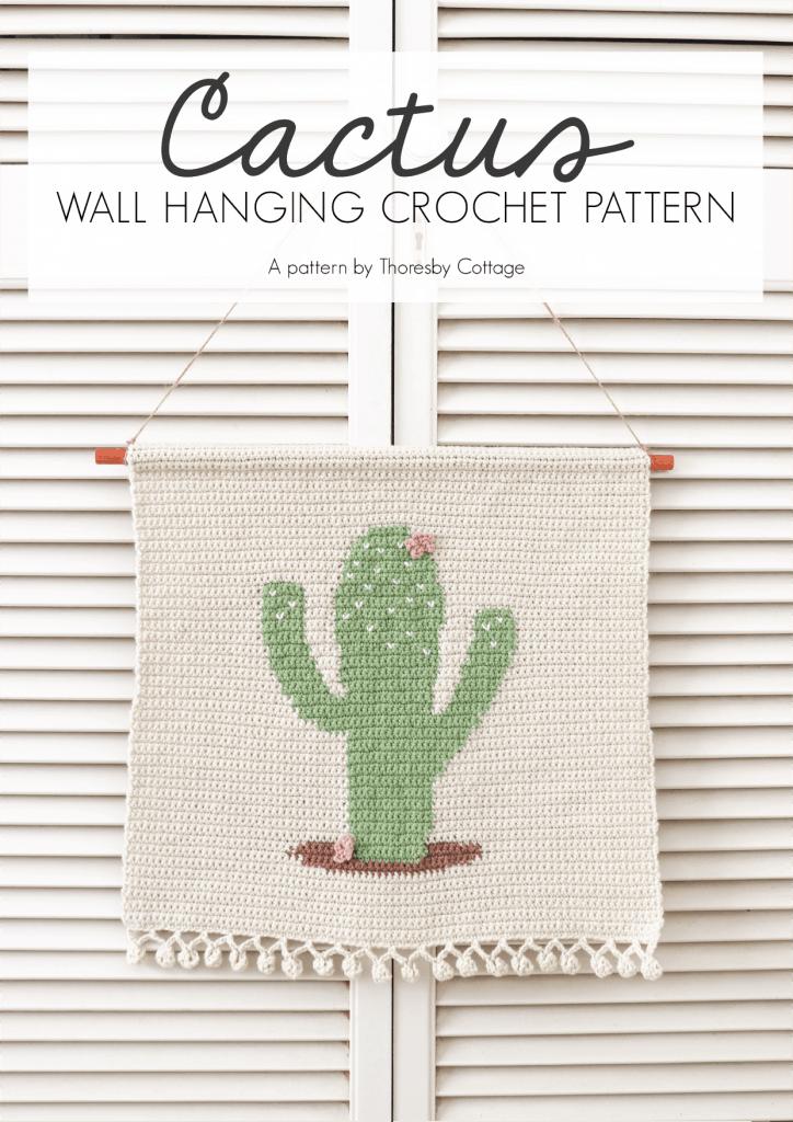 crochet cactus wall hanging
