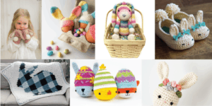 A collection of crocheted bunny rabbit patterns. Beginner crochet patterns for nursery decor and bunny rabbits