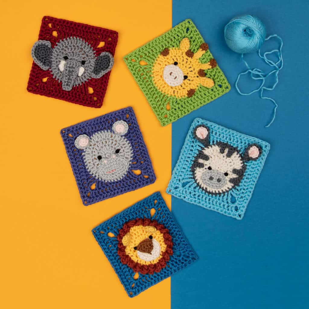 crocheted animal squares, crochet elephant square, crochet giraffe square, hippo square, zebra square and lion square, in bright colors