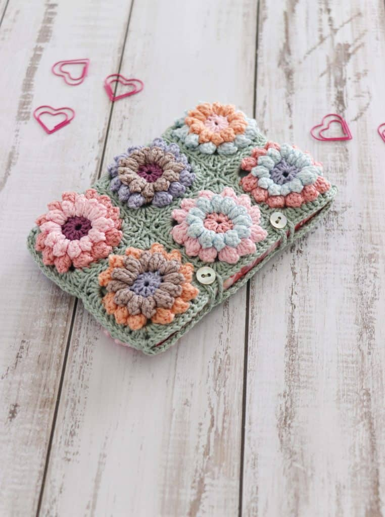 pastel colored flower clutch bag, crocheted pouch