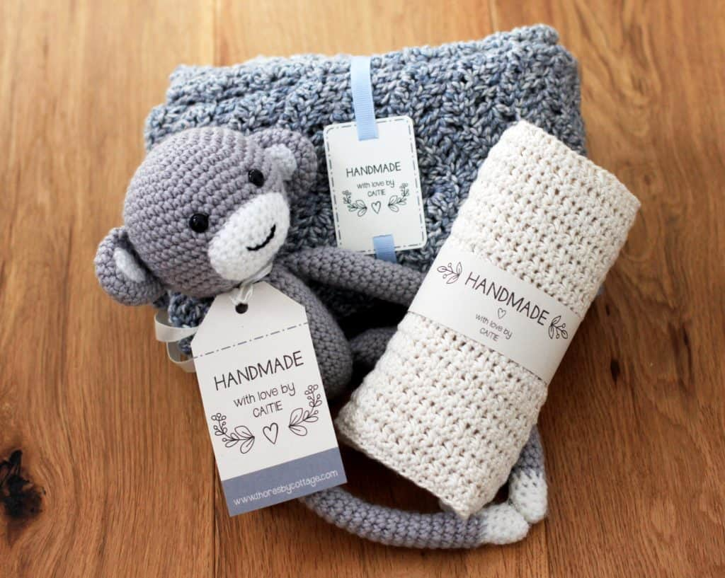 Crochet monkey with a personalised label, hand made tag, gifts for crocheters