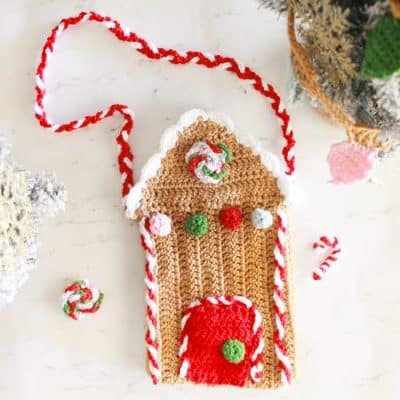 crochet gingerbread house bag