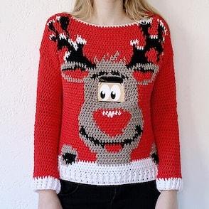 crochet reindeer jumper