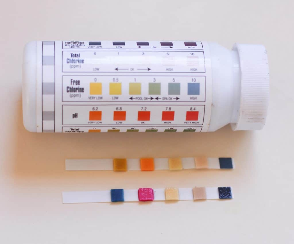 swimming pool pH tester strips
