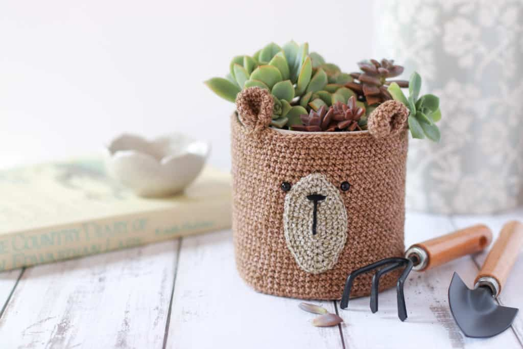 Crochet pot cover, pot filled with succulents, pot plant and garden tools, crochet, crochet planter pattern
