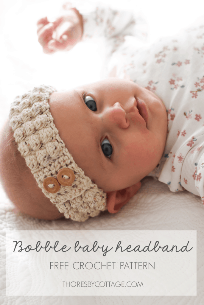 Crochet baby bobble headband, gorgeous baby girl wearing a neutral colored crochet headband with wooden buttons.