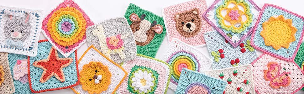 a selection of brightly colored crochet granny squares.