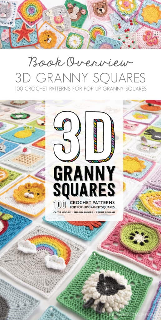 3D granny squares book cover. Lots of different granny squares on a white background